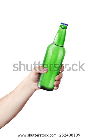 Hand holding a bottle. Template for the ability to use any brand label on a white background