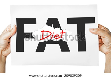 Hand holding a burning paper has FAT text in a middle and see Diet text behind. Fat burn, Work out concept. - stock photo