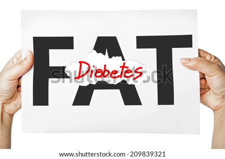 Hand holding a burning paper has FAT text in a middle and see Diobetes text behind. Fat burn, Work out concept. - stock photo