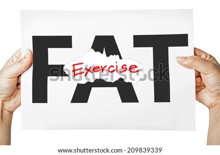 Hand holding a burning paper has FAT text in a middle and see Exercise text behind. Fat burn, Work out concept. - stock photo