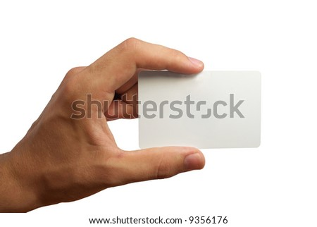 Hand holding a business card. Isolated on white background - stock photo