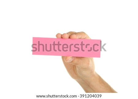Hand holding a business card on a white background
