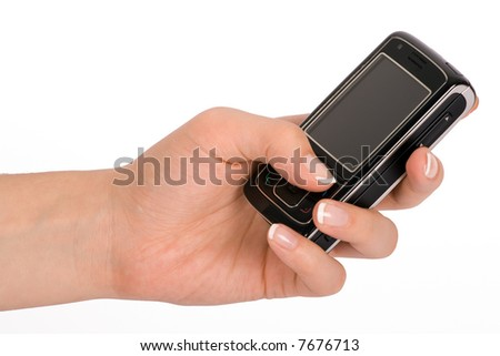 Hand holding a business mobile phone - stock photo