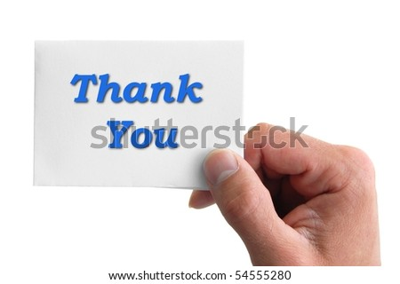 hand holding a card with the word thank you isolated on white background - stock photo