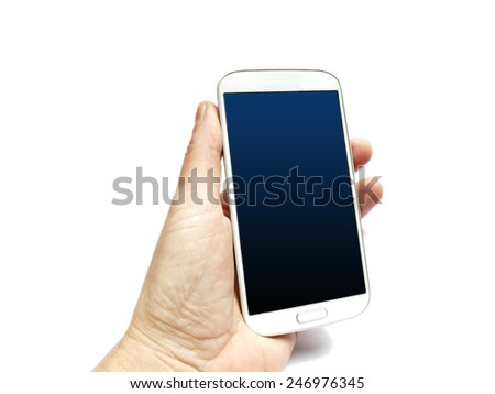 Hand holding a cell phone isolated on white - stock photo