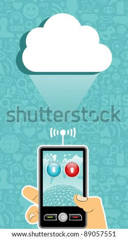 Hand holding a cell phone under one cloud on blue background with social media icons. - stock photo