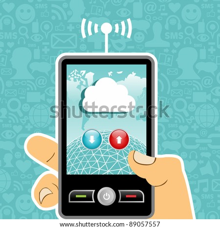 Hand holding a cell phone with cloud of communication on blue background with social media icons.