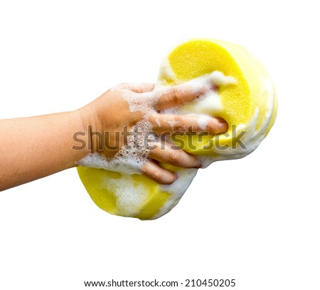hand holding a cleaning sponge isolated on a white background - stock photo