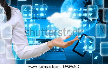 hand holding a cloud on technology background - stock photo