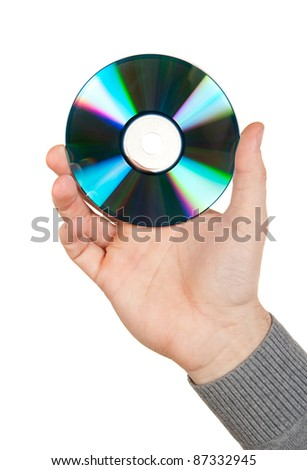 Hand holding a computer disk over white - stock photo