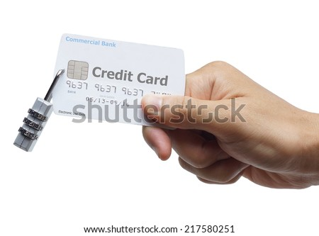 hand holding a credit card with a security lock