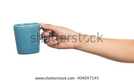 hand holding a cup of coffee, isolated on white background - stock photo