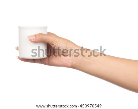hand holding a cup of tea, isolated on white background