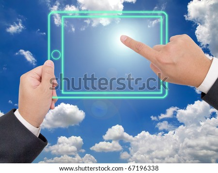 Hand holding a digital tablet p, Technology can create everything - stock photo