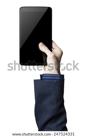 Hand holding a digital tablet with a black screen   - stock photo