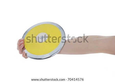 Hand holding a discus on a white background. - stock photo