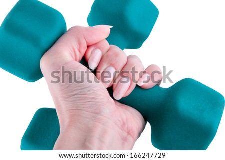 Hand holding a dumbbell isolated on a white background. - stock photo