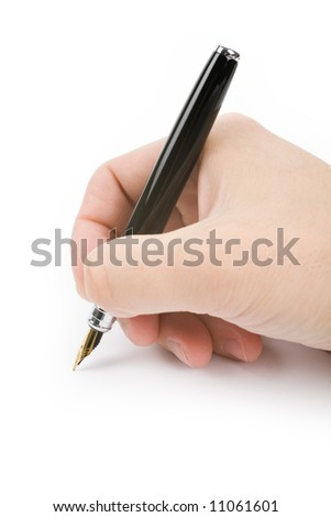 hand holding a Fountain Pen, writing document