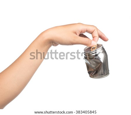 Hand holding a garbage can isolated on white background