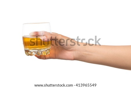 hand holding a glass of beer isolated on white background - stock photo