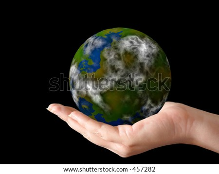 hand holding a globe (artwork + photo) - stock photo