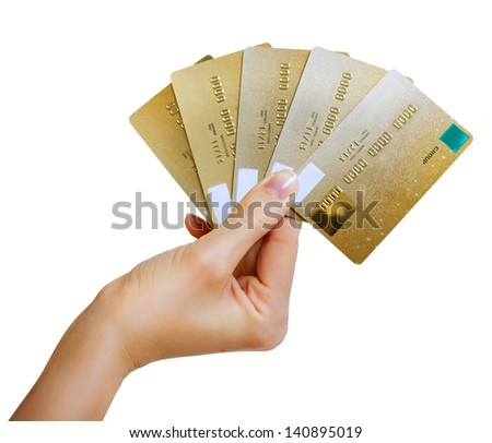 hand holding a gold credit cards, isolated on white - stock photo