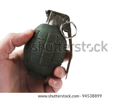 hand holding a grenade isolated on white - stock photo