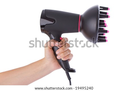 Hand holding a hairdryer isolated on a white background - stock photo