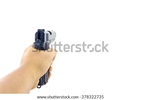 Hand holding a handgun. Isolated first person view hand holding a handgun on white background. - stock photo