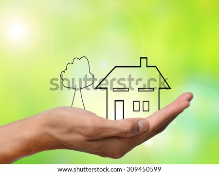 hand holding a home and tree on green  blur background