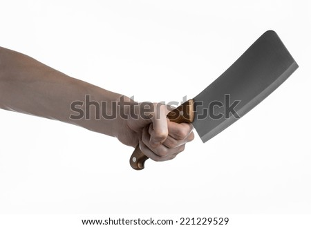 Hand holding a knife for meat, cleaver, chef holding a knife, a large knife, kitchen knife, kitchen theme, white background, isolated, butcher knife - stock photo