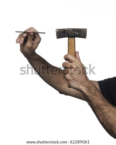 Hand holding a medium hammer on a white set