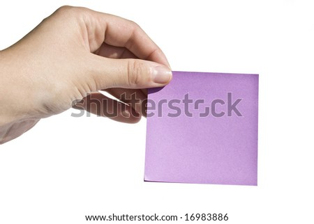 Hand holding a memo