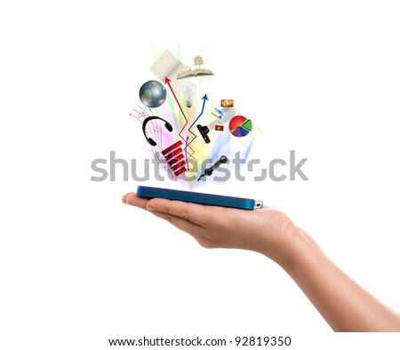 Hand holding a mobile phone - stock photo