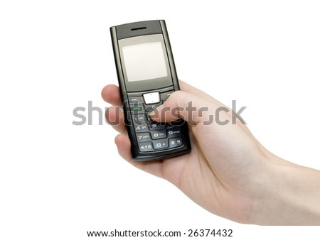 Hand holding a mobile phone on a white background