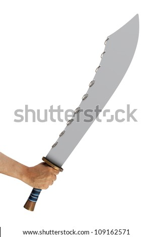 Hand holding a Nine Ring Broad sword isolated on white background with clipping path - stock photo