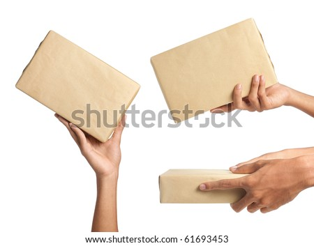 hand holding a package. Three different ways to give the package to someone - stock photo