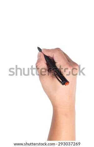 Hand Holding a Pen isolate on White