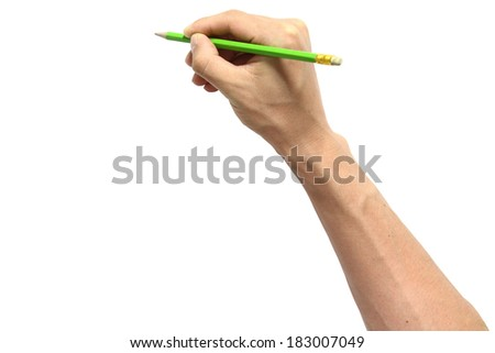 hand holding a pencil on white background  - stock photo