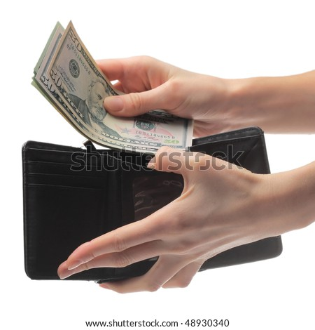Hand holding a purse on a white background