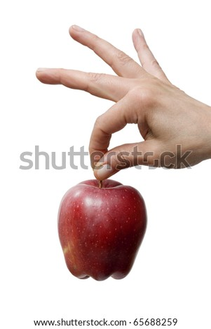 hand holding a red apple - stock photo