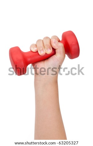 Hand holding a Red Dumbbell close up shot