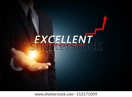 Hand holding a rising arrow, representing business growth  - stock photo