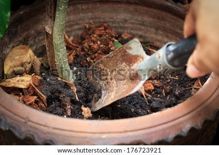 hand holding a shovel cultivating the soil - stock photo