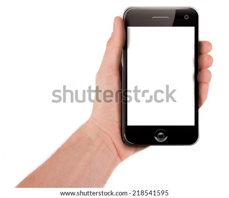 Hand holding a smart phone (palmtop) isolated on white - stock photo