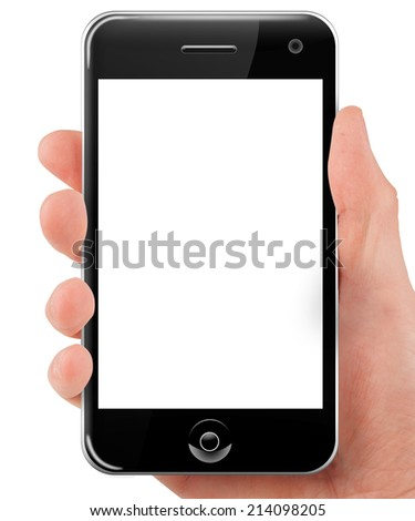 Hand holding a smart phone with blank screen isolated on white - stock photo