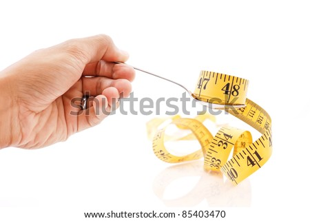 Hand Holding a Spoonful of Tape Measure