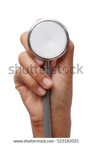 hand holding a stethoscope on white background