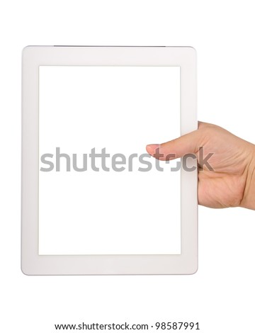 Hand holding a tablet computer with blank screen Isolated on white - stock photo