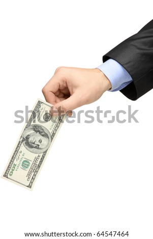 Hand holding a 100 US dollar banknote isolated on white background - stock photo